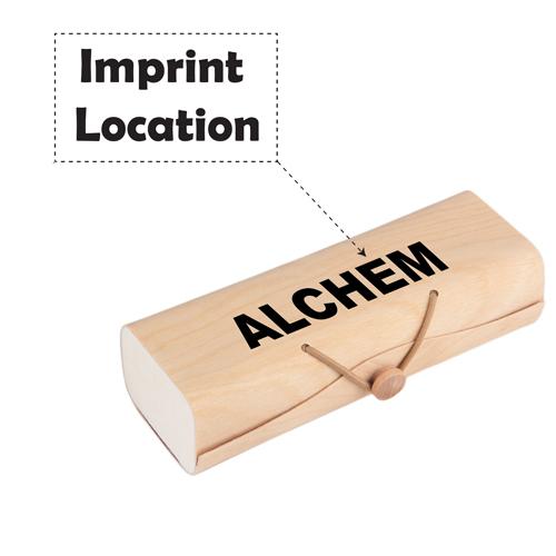 Portable Sunglasses Wooden Box Imprint Image