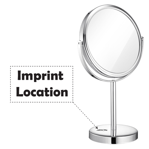 Circular Shape Double Sided Cosmetic Mirror Imprint Image