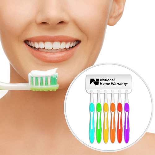 Wall Mount 6 Toothbrushes Holder
