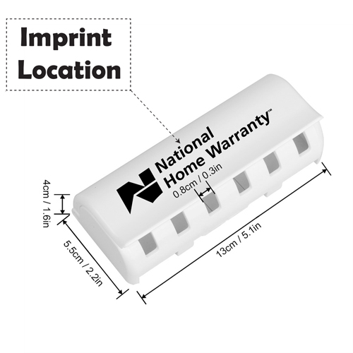 Wall Mount 6 Toothbrushes Holder Imprint Image