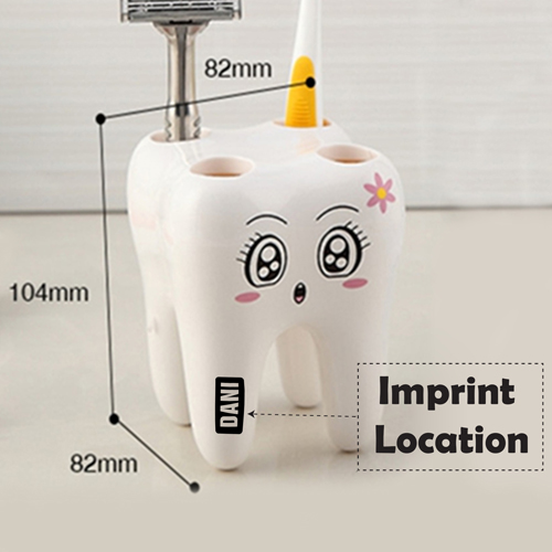 Tooth Shaped 4 Toothbrush Holder Imprint Image