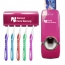 Wall Mount Toothbrush Rack and Automatic Toothpaste Dispenser Image 2