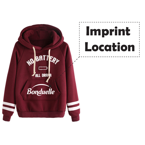 Casual Drawstring Hoodie Sweatshirt Imprint Image