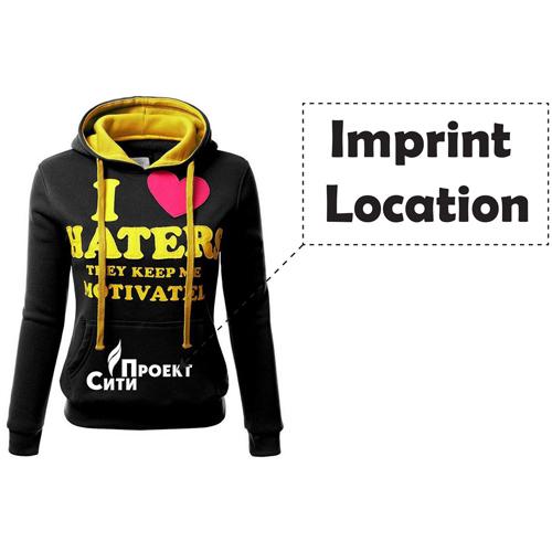 Front Pocket Hooded Long Sleeve Sweatshirt Imprint Image