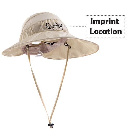 Wide Brim Foldable Mesh Bucket Hat Imprint Image