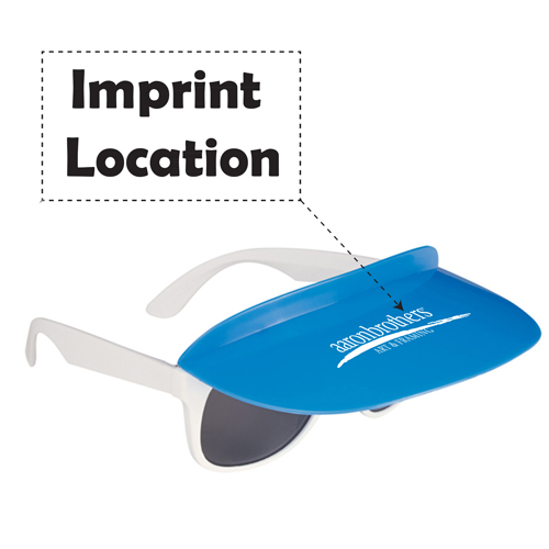 Custom Two Tone Visor Sunglasses Imprint Image