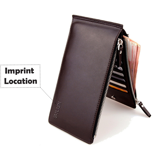 Ultra-Thin Double Zipper Men Wallet Imprint Image
