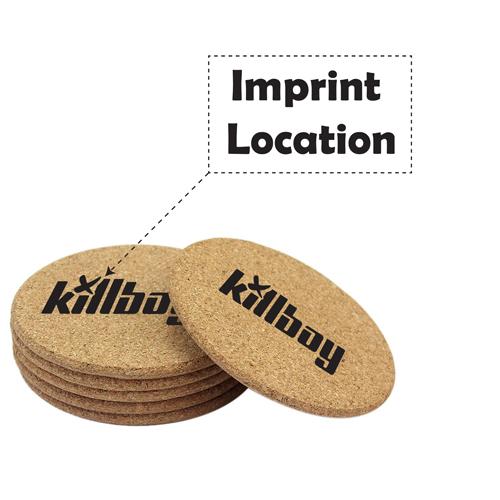 Round Shape Plain Cork Coaster Mat Imprint Image