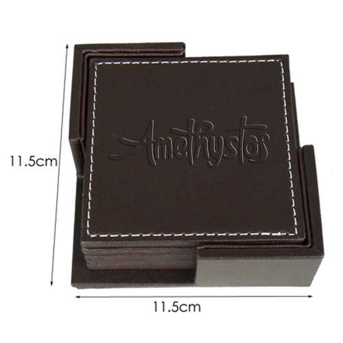 Square 6 Leather Coasters With Holder Image 3