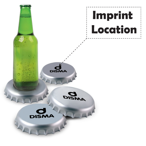 Spinning Giant Bottle Cap Coasters Imprint Image