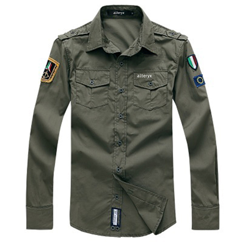 Army Military Men Casual Cotton Shirt Image 2