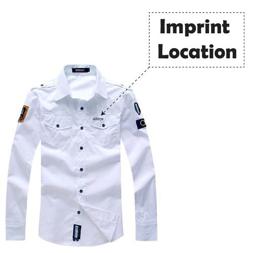 Army Military Men Casual Cotton Shirt Imprint Image