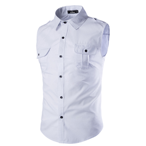 Men Sleeveless Dress Shirts Image 1