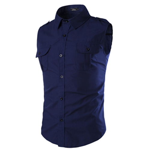 Men Sleeveless Dress Shirts Image 2