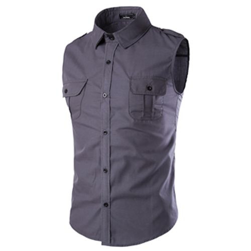 Men Sleeveless Dress Shirts Image 3