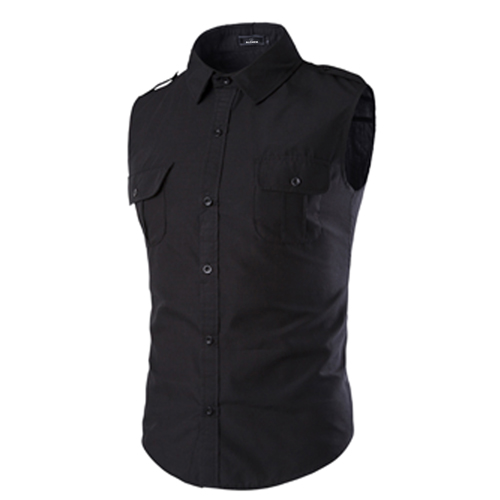 Men Sleeveless Dress Shirts Image 4