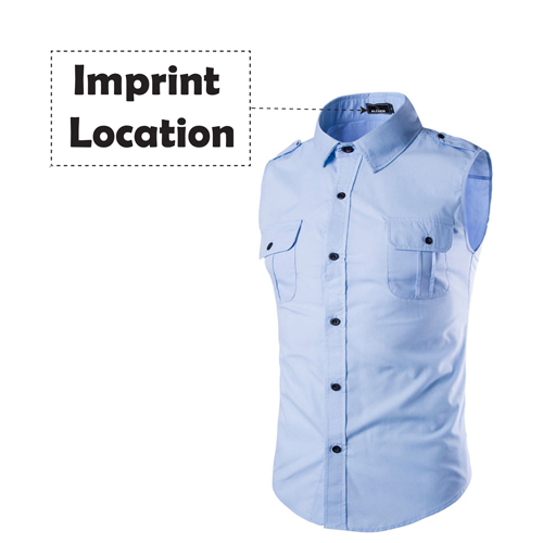 Men Sleeveless Dress Shirts Imprint Image