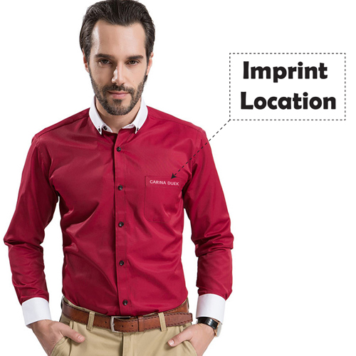 White Collar Mens Big Size Shirts Imprint Image