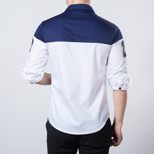 Number Printed Men Slim Dress Shirt Image 1