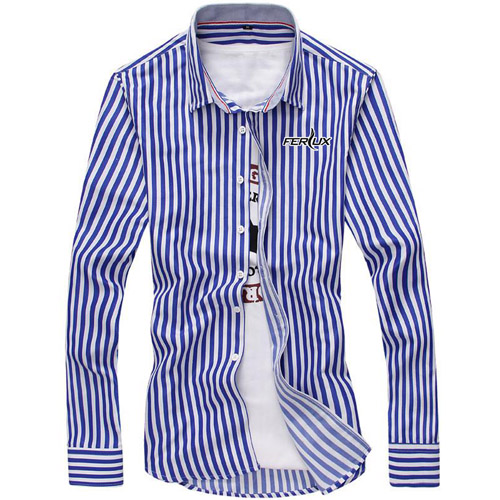 Striped Fashion Mens Dress Shirts Image 1
