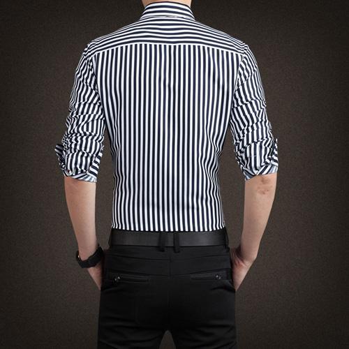 Striped Fashion Mens Dress Shirts Image 2