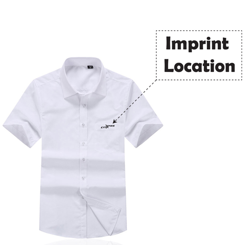 Short Sleeved Men Formal Cotton Shirts Imprint Image
