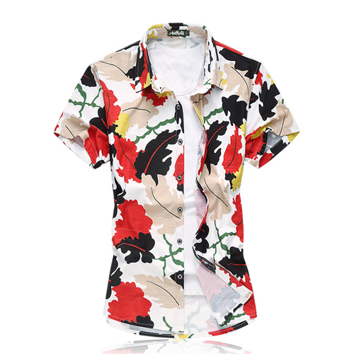 Short Sleeve Men Leaf Dress Shirt