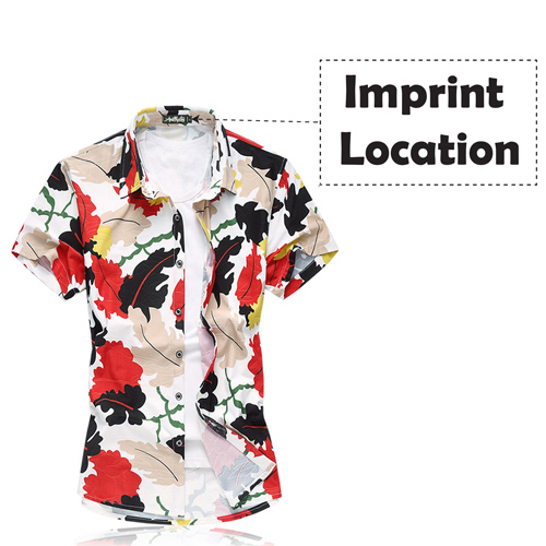 Short Sleeve Men Leaf Dress Shirt Imprint Image