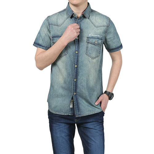 Breathable Patchwork Jeans Shirt