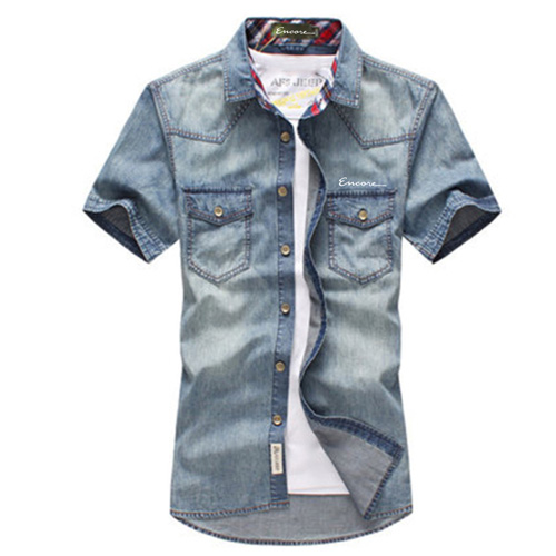 Breathable Patchwork Jeans Shirt Image 3