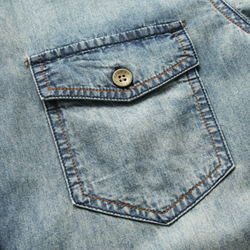 Breathable Patchwork Jeans Shirt Image 4