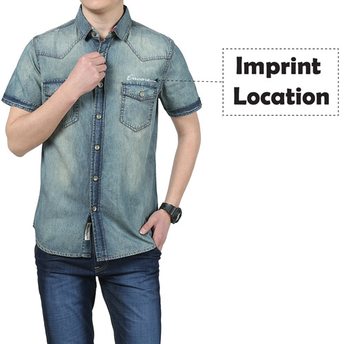 Breathable Patchwork Jeans Shirt Imprint Image