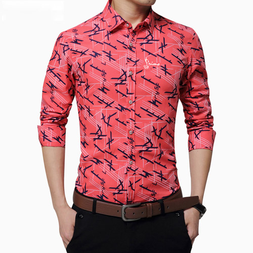 Long Sleeve Print Design Dress Shirts