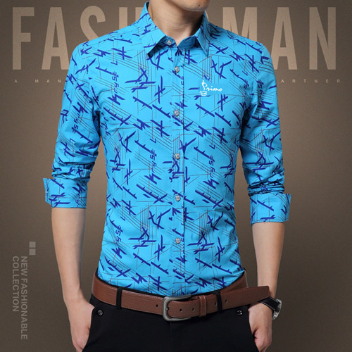 Long Sleeve Print Design Dress Shirts Image 1