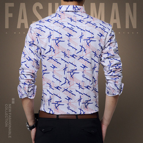 Long Sleeve Print Design Dress Shirts Image 3