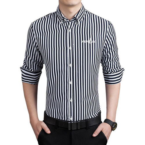 Striped Cotton Long Sleeve Dress Shirts Image 1
