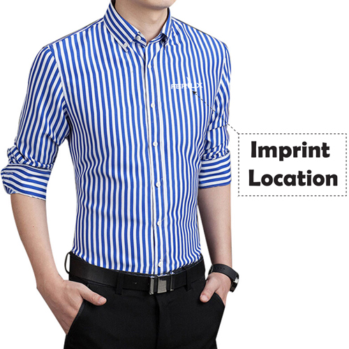 Striped Cotton Long Sleeve Dress Shirts Imprint Image