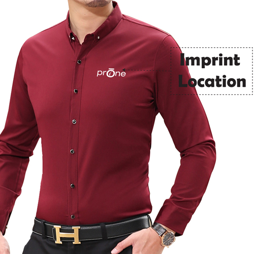 Long Sleeve Casual Business Men Shirts Imprint Image