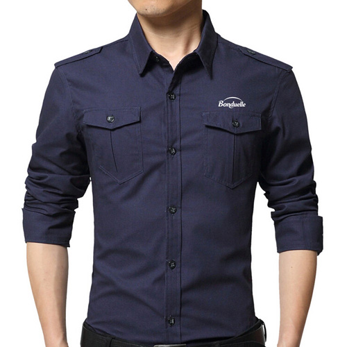 Double Pockets Men Dress Shirts Image 1