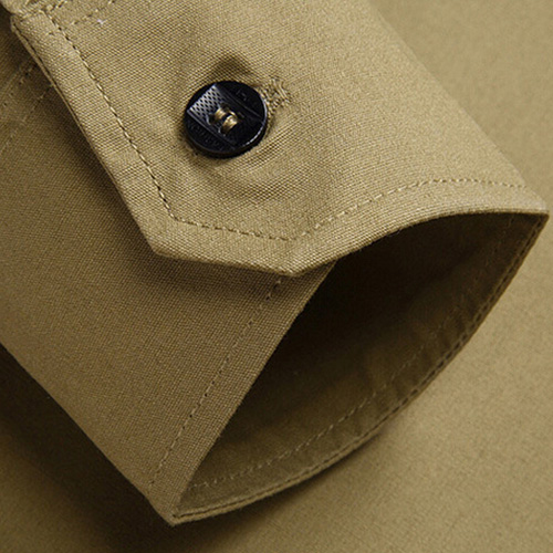 Double Pockets Men Dress Shirts Image 3