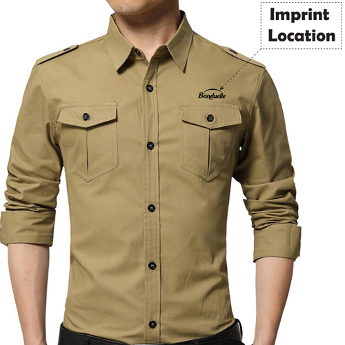 Double Pockets Men Dress Shirts Imprint Image