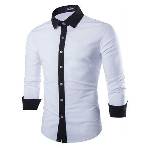 Concise Fashion Mens Long Sleeve Shirt Image 1