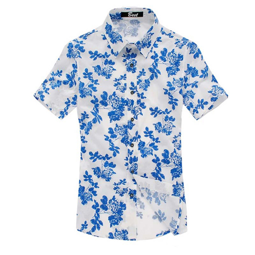 Mens Floral Print Short Sleeve Shirts