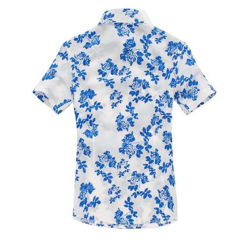 Mens Floral Print Short Sleeve Shirts Image 1