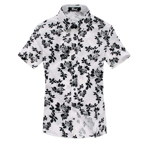 Mens Floral Print Short Sleeve Shirts Image 2