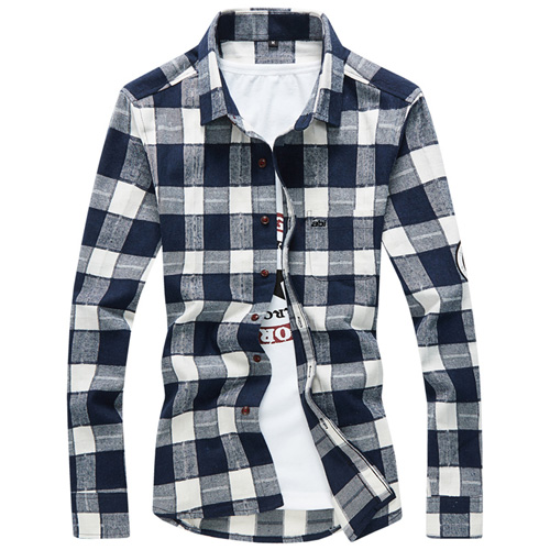 Long Sleeve Men Plaid Shirt Image 2