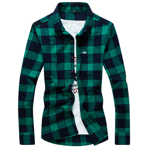 Long Sleeve Men Plaid Shirt Image 3