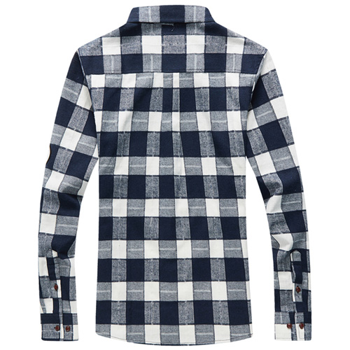 Long Sleeve Men Plaid Shirt Image 4