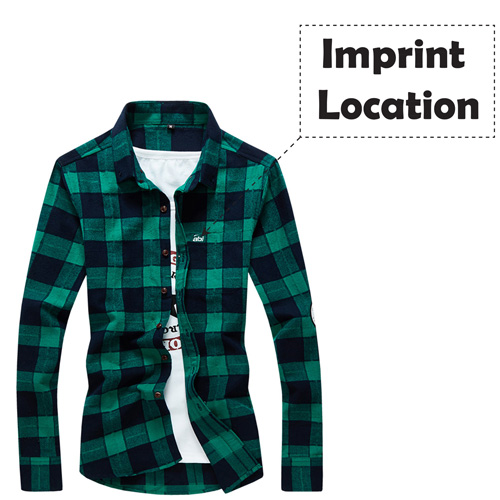 Long Sleeve Men Plaid Shirt Imprint Image