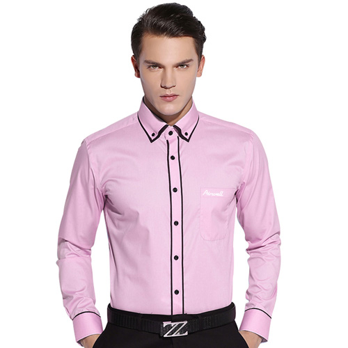 Double Layer Black Piping Long Sleeve Shirt